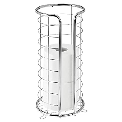 mDesign Decorative Metal Free Standing Toilet Paper Holder Stand with Storage for 3 Rolls of Toilet Tissue - for Bathroom/Powder Room - Holds Jumbo Rolls - Chrome