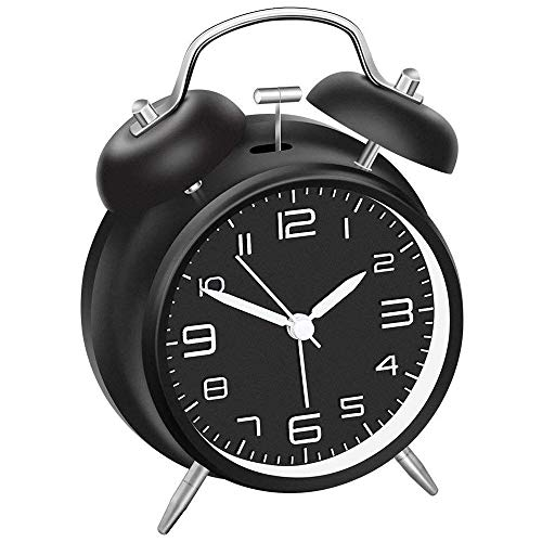Vintage Reloj Despertador de Doble Campana, Silencioso Analogico Despertadores de Viaje para Infantil Juvenil Niña,Funciona con Pilas,con luz Nocturna,Tradicional