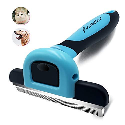 JASWELL Tierhaar-Schuppen-Werkzeug für Hunde und Katzen Das Hundepflege-Werkzeug reduziert das Schuppen effektiv um bis zu 95% professionelle Enthaarungsbürste (Blau)