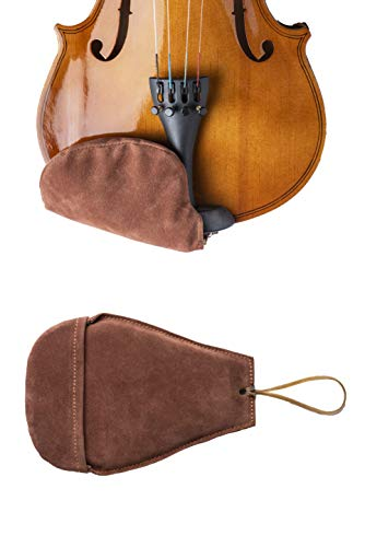 New West Products Suede Chin Rest Cover for Violin and Viola Musical Instruments, Brown, Thin Comfortable Chinrest and Soft Foam Lining for Beginners and Professionals, Reduces Rubbing and Irritation