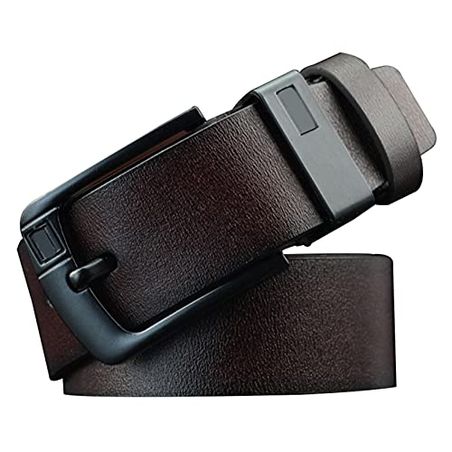Heshan Cinturón de cuero de los hombres Pin de aleación retro D en forma de hebilla de mezclilla regalo para hombres