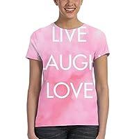 ライブラブ笑い Tシャツレディース 半袖プリント 夏 カジュアルファッション 人気 クルーネック ゆったりとしたスポーツの快適性 ユニセックス