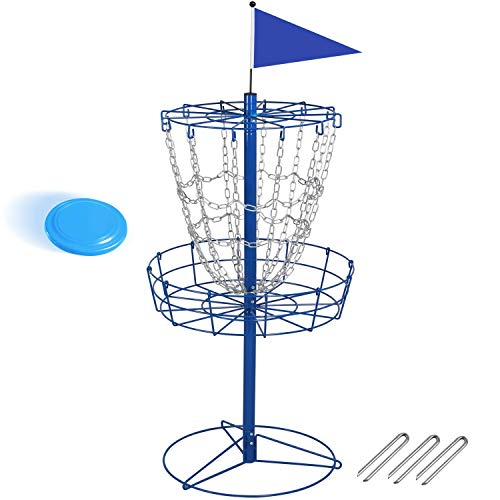 YAHEETECH Disc Golf Basket Double Chains Portable Practice Target Steel Hole with 12 Strands of Heavy-Duty Chain