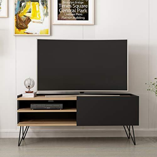 Homemania TV-Schrank, Melamin, Metall, Schwarz, 124 x 37 x 50 cm