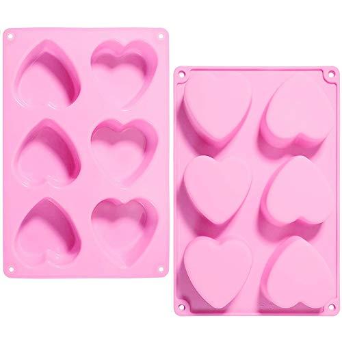 2 Pcs 6 Cavidad Corazón de silicona jabón molde cake pan Moldes de Silicona, Diseño de Corazón moldes de Silicona 3D Torta Fondant de la Pasta de Chocolate Jelly Candy Moldes, Rosado