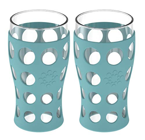 Lifefactory 20-Ounce BPA-Free Indoor/Outdoor Protective Silicone Sleeve Beverage Glass, 2-Pack, Aqua Teal