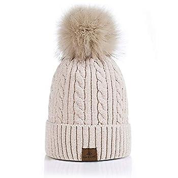 PAGE ONE Women Winter Pom Pom Beanie Hats Warm Fleece Lined,Chunky Trendy Cute Chenille Knit Twist Cap/Beige