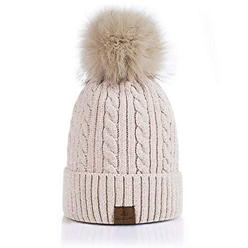PAGE ONE Women Winter Pom Pom Beanie Hats Warm Fleece Lined,Chunky Trendy Cute Chenille Knit Twist...