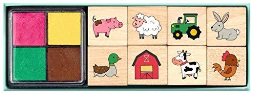 Bauernhof Stempelset für Kinder | 8 verschiedene Stempel aus Holz | Set mit Kinderstempeln und vierfarbigem Stempelkissen | In praktischem Geschenkkarton mit Sichtfenster