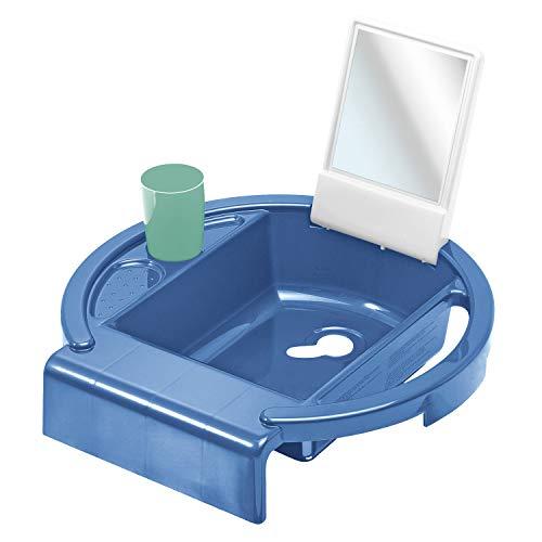 Rotho Babydesign Lavabo pour Enfants Kiddy Wash, À fixer sur le bord de la baignoire, 38,7 x 38,2 x 10 cm, SCool Blue (Bleu), 20034 0315 01