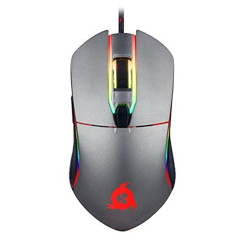 KLIM Aim Mouse Gaming Chroma RGB USB + Regolabile 500-7000 DPI + Alta Precisione, Pulsanti Programmabili, Impugnatura Ergonomica per Ambidestri + Mouse PC Laptop gaming, Compatibile PS4 (Grigio)