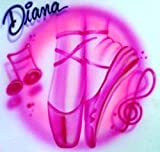 Custom Airbrush T Shirt Dance Dancer Ballet Shoes Slippers - Youth/Adult - Personalized Airbrushed Name Tshirt