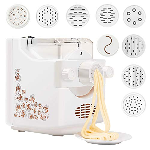 Electric Pasta Maker Pasta and Ramen Noodle Maker Automatic Pasta and Ramen Noodle Maker with 9 Molds to Choose Make Spaghetti Fettuccine Penne Macaroni or Dumpling Wrappers