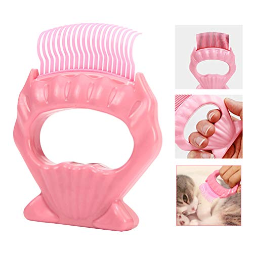 Bestice Cat Peine, Cepillo de Gato en Forma de Concha Peine de depilación para Gatos y Perros Cepillo de Masaje para Mascotas con Mango Antideslizante