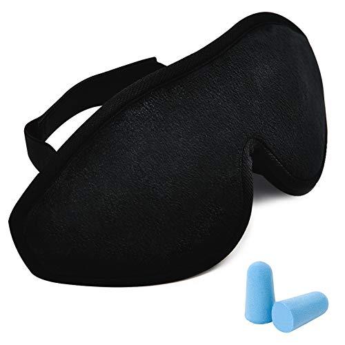 Antifaz Dormir Mujeres Hombres Niños, Negro Suave Ajustable Sombra Grande Máscara de Ojos Ahuecada Transpirable para Dormir Meditación de Yoga de Viaje, con 1 par Tapones para Los Oídos