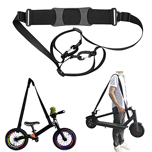 Adjustable Kick Scooter Shoulder Strap, Multi-Function Scooter Carrying Strap, Suitable for Balance Bike,Electric Scooter,Foldable Bikes,Beach Chair,Ski Board,Yoga Mat, with Non-Slip Shoulder Pad