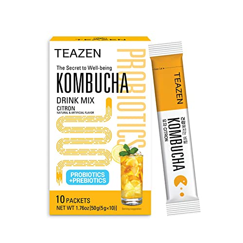 TEAZEN Kombucha Citrus Flavor, Sparkling Fermented...