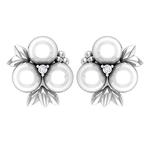 Rosec Jewels 10 quilates oro blanco redonda round-brilliant-shape H-I White Diamond Pearl