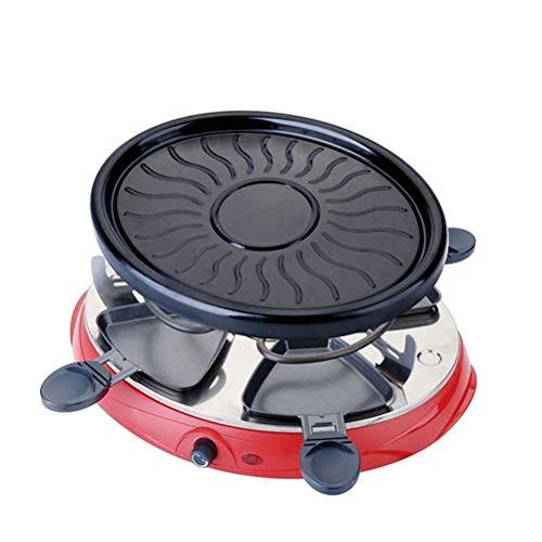 AJH Gril à raclette électrique Domestique Portable Plaque chauffante sans fumée Plaque de Barbecue antiadhésive ustensiles de Cuisson brochette Machine à Barbecue en Plein air