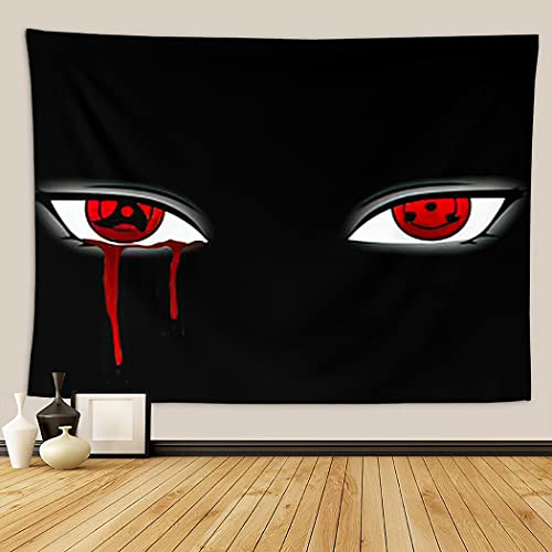 Anime Large Tapestry for Bedroom Aesthetic Naruto Shippuden Itachi Uchiha Awakened His Mangekyo Sharingan After Witnessing Tapestries Wall Hanging for Kitchen Space Nature Dorm Retro 60 x 80 inches