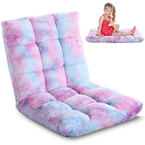 Recline Floor Chair with Back, 6-Position Pastel Fuzzy Gaming Floor Chair, for Teens, Adults, Tie Dye Violet