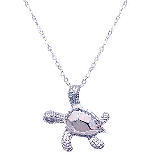 Richo Collar de plata de ley 925 para mujer, colgante de tortuga marina de ópalo, collar con colgante de tortuga de animales, joyería para mujer