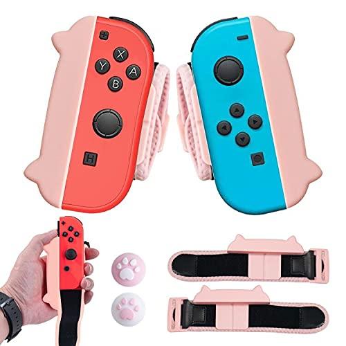 HLRAO Paquete de 2 pulseras de actualización compatibles con el controlador Joy-Con de Nintendo Switch, cómoda correa elástica ajustable para juegos de Just Dance para para niños 2021/2020/2019.