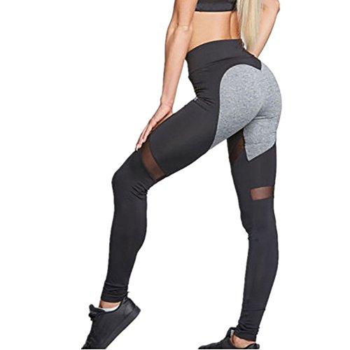 Zjcpow Pantalones de yoga para mujer, de cintura alta, ajustados, pantalones de yoga, elásticos, para entrenamiento, gimnasio, correr, deportes, adelgazar pantalones activos (color: gris, tamaño: XL)