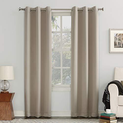"Sun Zero Easton Blackout Energy Efficient Grommet Curtain Panel, 40"" x 84"", Stone"