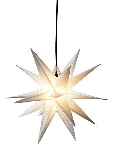 Weißer Weihnachtsstern zum Hängen - 3D Dekostern mit 18 Zacken - Durchmesser: 100cm (Jumbo) - Beleuchteter Hängestern für den Außenbereich (Wetterfest)
