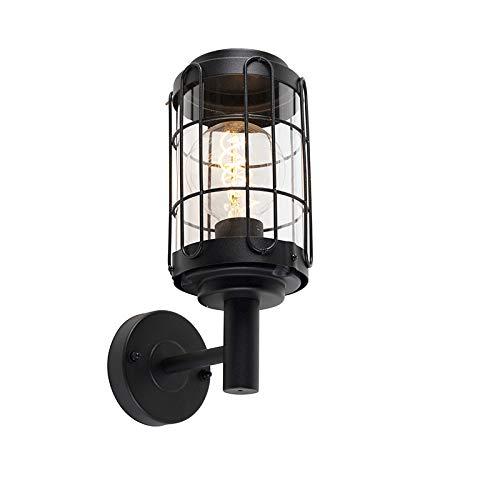 QAZQA Industriële wandlamp zwart IP44 - Bares Staal/Glas Rond Geschikt voor LED Max. 1 x 40 Watt