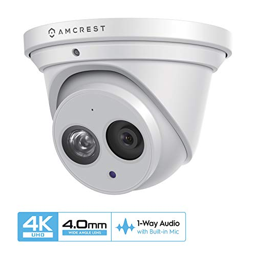 Amcrest UltraHD 4K POE Camera, 8MP Outdoor Security Turret PoE IP Camera, 3840x2160, 164ft NightVision, 4mm Lens, IP67 Weatherproof, MicroSD Recording (128GB), White (IP8M-T2499EW-40MM)