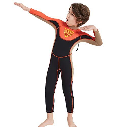 DUBAOBAO Duikpak jongen, korte broek korte mouw UPF50 + zonnebrandcrème UV-bescherming, 2.5mm neopreen jongen en meisje uit één stuk, geschikt voor 3-12 jaar oud