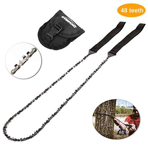 Overmont 48 dientes Sierra de cadena manual kit de supervivencia para camping senderismo al aire libre con bolsillo