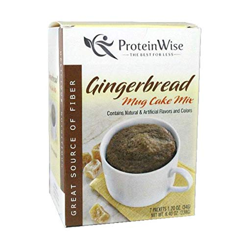 ProteinWise High Protein Mug Cake Mix, Gingerbread, Gluten Free, Trans Fat Free, High Fiber, Diet Healthy Snack, 7 Count