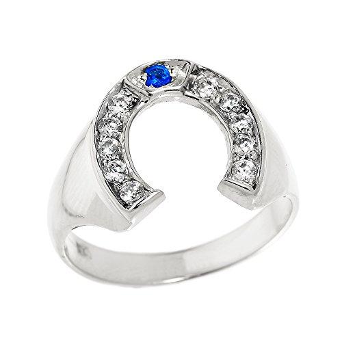 Kleine Schätze - Herren Ring / Verlobungsring / partnerring 925 Sterling Silber Weiß und Blau Zirkonia Hufeisen Ring
