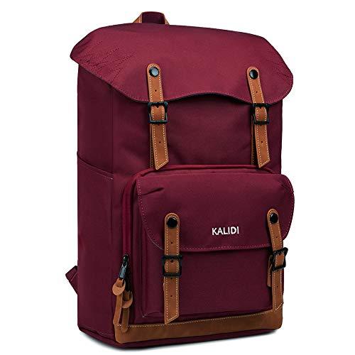 KALIDI 17 Zoll Laptop Backpack Großer Rucksack Wanderrucksack bis zu 15.6 Zoll Laptop Notebook Arbeit Campus Studenten Outdoor Reisen Wandern (Weinrot)