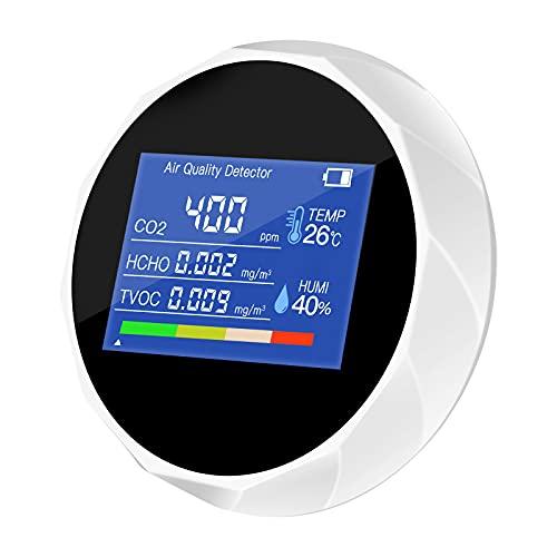 Elikliv Medidor de CO2, Detector de Calidad del Aire 5-en-1 con Digital Monitor Probador de Dióxido de Carbono TVOC HCHO con Sensor de Humedad y de Temperatura para Interior