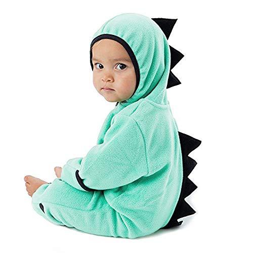 MRULIC Neugeborenes Baby Jumpsuit Outfit Dinosaurier Reißverschluss mit Kapuze Spielanzug Overall Outfit Kleidung Niedlicher Babyschlafsack Onesies Herbst und Wintermodelle(A-Grün,95-100CM)