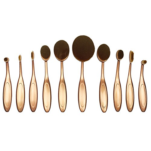 Beauty Kate Pinceaux de maquillage brosse ovale set Fondation contour point culminant anticernes blush crème liquide poudre cosmétique trousse à outils (or)