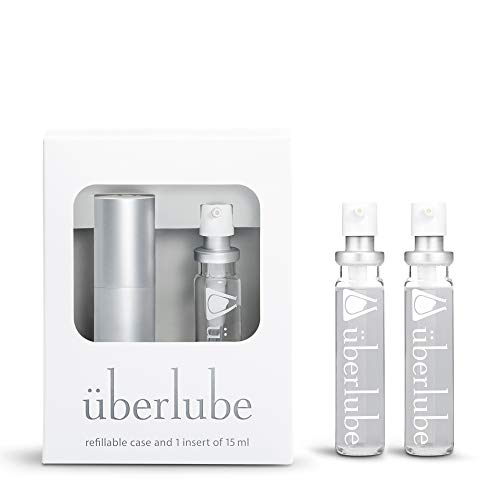 Überlube Good-to-go Travel Lube Set + Two Refills | Latex-Safe Natural Silicone Lube for Sex with Vitamin E | Unscented, Flavorless, Zero Residue, Works Underwater Silver Kit+ 2 Refills (45ml Total)
