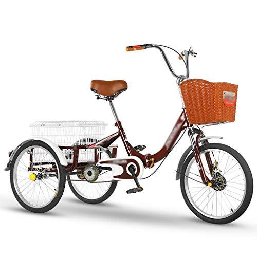 LICHUXIN 20 inch Tricicli Adulti con Cestino Acquisto Bicicletta Cruiser Ciclismo Triciclo con Cestino per attività all'Aria Aperta Città Urban (Color : Wine Red)