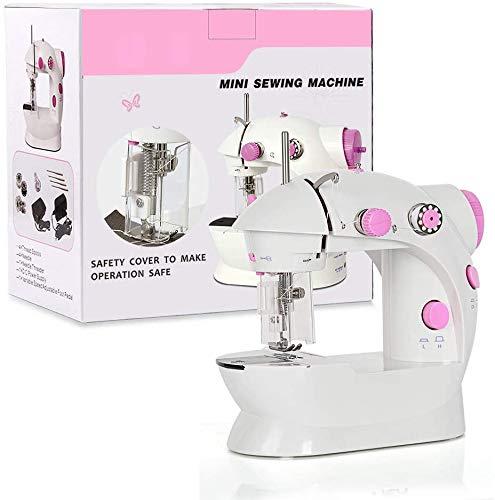 HAITRAL Máquina de coser, mini soporte plegable para ampliar el rango de funcionamiento con pedal doble y cubierta de luz LED para principiantes (morado).