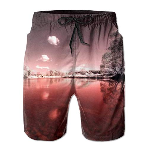 OMNHGFUG Pantalones cortos de playa para hombre, con cordón de ajuste casual, con bolsillos, para hombre