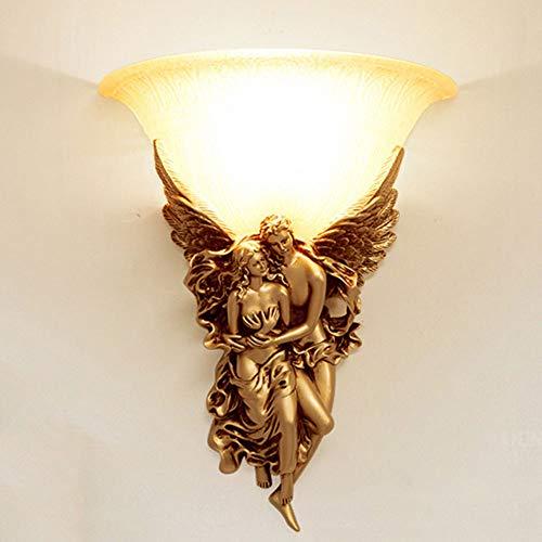 LEDWandlicht cobre de oro lámpara de pared de color material de la lente resina natural E14Lampenhalter regulable (3000-6000K) regulable altura 30cm 37cm dormitorio retro moderno diseño interior son