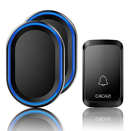 Timbre inalámbrico CACAZI para puerta con botón pulsador, receptor que funciona a 1000 pies, resistente al agua, con flash LED, 4 niveles de volumen, 58 melodías (2 receptores enchufables, 1 botón, negro)