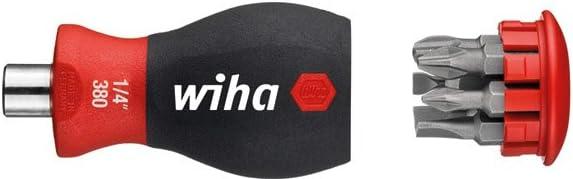 WIHA 33736-Destornillador con cargador magnético 3801-01 Stubby 1/4'' Ref. 380101, Color