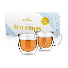 Charbrew Glass Tea Cups with Handle – 2 x 250ml Thermo Double Insulated Tea Cups for Tea, Coffee, Ice Cream