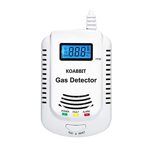 Carbon Monoxide Alarm Detector, KOABBIT Home Natural Gas Alarm; Monitor Combustible Gas: Methane, Butane, LPG, LNG;LCD Dissplay, support 9V Rechargeable Battery (Not Included)