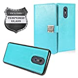 Z-GEN - LG Stylo 4 (2018), Stylo4+ Plus, LM-Q710, LM-L713DL - Detachable Magnetic Flip Wallet Phone Case + Tempered Glass Screen Protector - MW2 SkyBlue